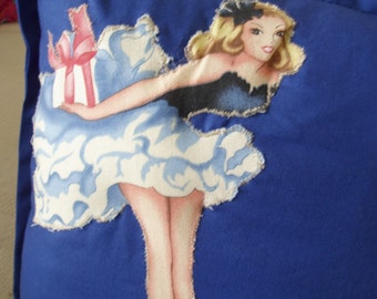 Retro Pin Up & Classic Nose Art  Cushion with Three Dimensional Pin Up Girl and Hand Embroidery