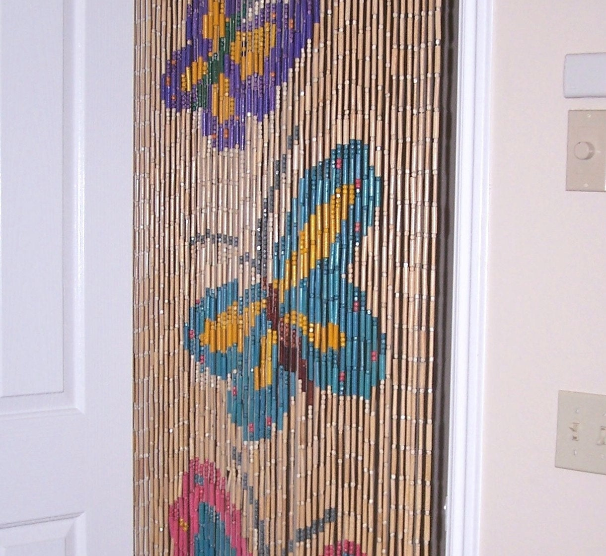 Vintage Curtain Wood Bead Curtain Hippy Butterfly by valstreasures