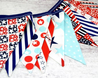 READY to SHIP! Eco-Friendly Reusable Fabric Bunting, Banner, Pennant, Flag, Garland, Photo Prop, Decoration, Navy Blue White Red, July 4th
