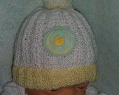 INFANT HAT Hand Knit Stocking Cap Beanie in white, yellow, & green with duck button trim