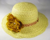 Tea Party Hat - Girls Sun Hat - Natural Yellow Easter Bonnet with Giraffe Print Ribbon - Gold Peony Flower - Style B12