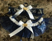 Dallas Cowboys navy blue organza wedding garter any size, color or style.