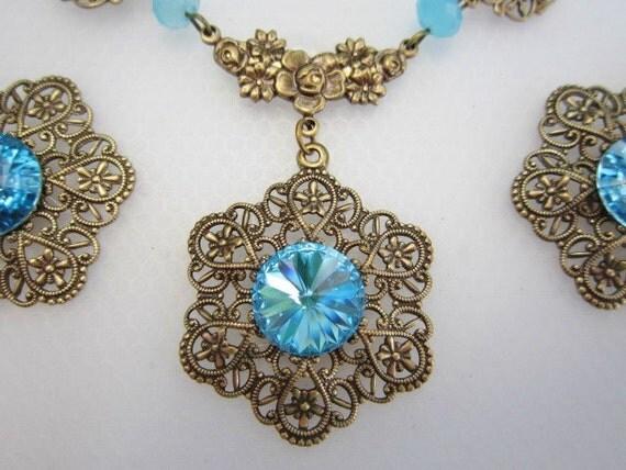 HALF PRICE SALE Brass Filigree Swarovski Crystal  Aqua Necklace Set