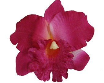 Vibrant Pink Orchid Silk flower Hair Clip 5.00 Inch.