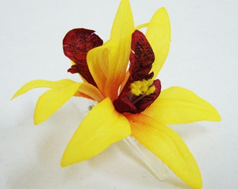 Yellow Orchid flower Hair Clip