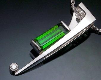 green tourmaline necklace, tourmaline pendant, statement necklace, October birthstone, Argentium silver, white sapphire, fine jewelry - 3411