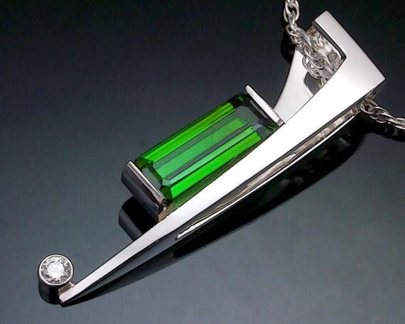 green tourmaline necklace, statement necklace, October birthstone, Christmas necklace, Argentium silver, white sapphire, fine jewelry - 3411