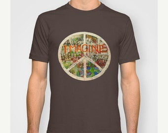 SALE John Lennon Tshirt The Beatles Imagine Peace love mens tee