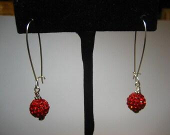 Red Pave Crystal Earrings,Earrings,Jewelry,Silver Earrings,Gift for Her,Dangle Earrings,Drop Earrings,Crystal Earrings,Gifts for Mom