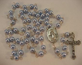Light Blue Swarovski Pearls Rosary,Rosary,Rosary Chain,Catholic Rosary, Catholic,Rosary Supplies,Rosaries,Rosary Necklace, Prayer Beads