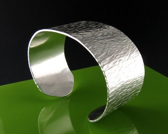 Wide Textured Sterling Silver Cuff Bracelet
