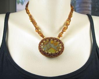 Orange Yellow Gray Necklace - Beadwoven Bamboo Jasper Stone
