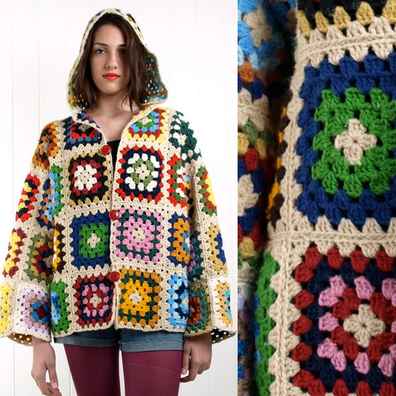 RESERVED FOR JULIE - Vintage 70s wool crochet granny square hooded jacket cardigan M L