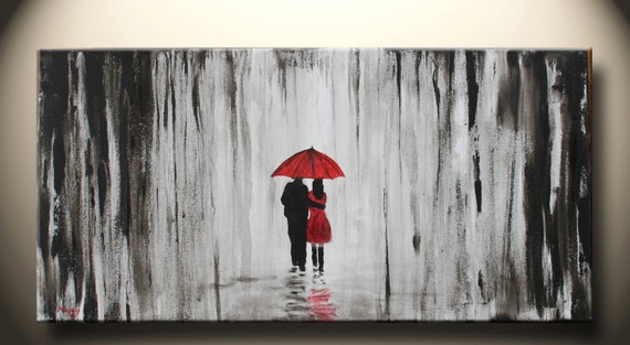 walk in rainloveblack white and redlarge original abstract