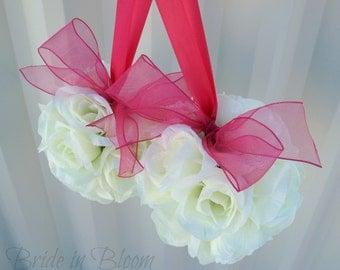 Wedding flower balls pomander White ivory cream hot pink Wedding decorations Ceremony Aisle pew markers