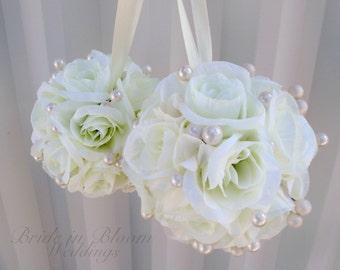 Wedding flower balls white cream flower girl pomander Wedding ceremony decorations