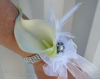 Calla lily wrist corsage, Wedding corsage, Mother of the bride corsages