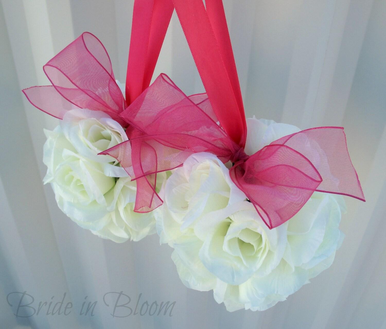 Ivory Flower Ball: Wedding Flower Balls Pomander White Ivory Cream Hot Pink