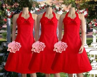 Red Rockabilly Bridesmaid Dress