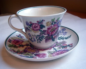 Wedgewood China Hollyhocks Teacup and Saucer - 1920s