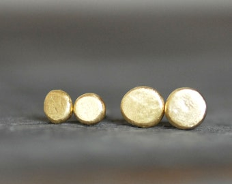 Tiny Gold Earrings - Gold Post Earrings - 18k Gold Skipping Stone Studs - Simple Gold Posts - Eco-Friendly Recycled Gold