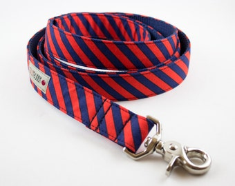 Navy Red Orange Stripes Dog Leash