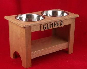 Elevated Large Dog Feeder Bowl, 15 Inch, Three Quart, Solid Oak, FREE NAME and STAIN