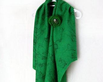 Felted Shawl Green Shawl Green Wrap Green Scarf with Brooch