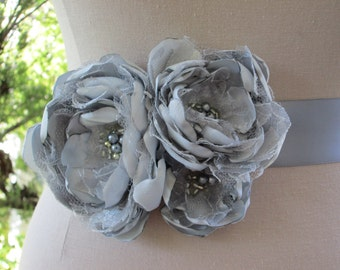 Silver gray fabric flower belt ribbon sash for wedding, special occasion