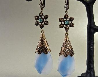 Czech Blue Snowflake Earrings Art Nouveau Art Glass Filigree Long Drop Gypsy