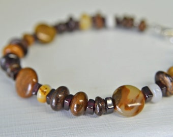 Men's Garnet and Agate Bracelet , 8 inches long with Lobster Claw Clasp