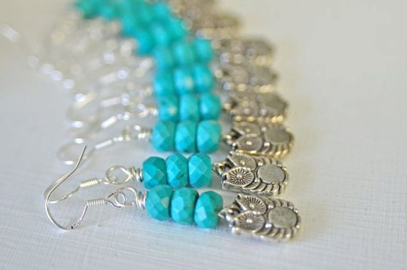 Teal Owl Earrings with Chinese Turquoise and Sterling Silver French Hooks , Bridesmaid Jewelry