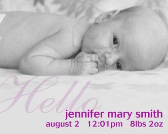 Girl  birth announcement, birth announcement, baby boy birth announcement, newborn announcements, diy print birth announcement