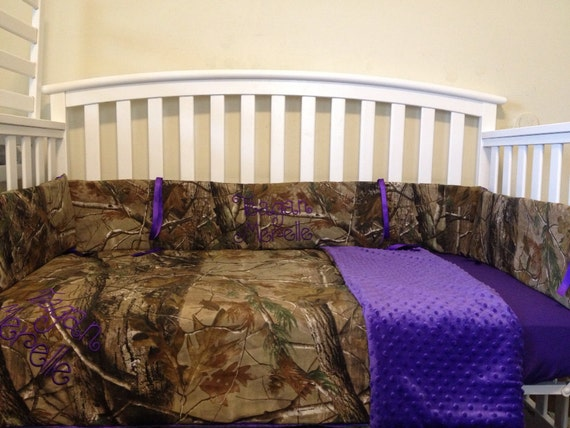 Items Similar To Realtree Camo And Purple Minky 3 Pc Crib