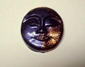 Moon Face Polymer Clay Cabochon - art doll