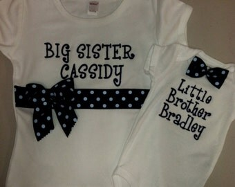 Navy Big Sister/Little Brother Shirt Set- white short sleeve