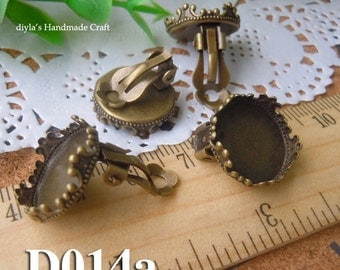 10pcs Brass plated Silver  earring base setting fit for 15mm Cabochon (D014a)