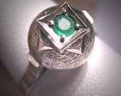 Antique Emerald Wedding Ring Vintage Art Deco Retro