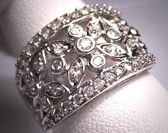 Vintage Diamond Wedding Ring Band Art Deco White Gold