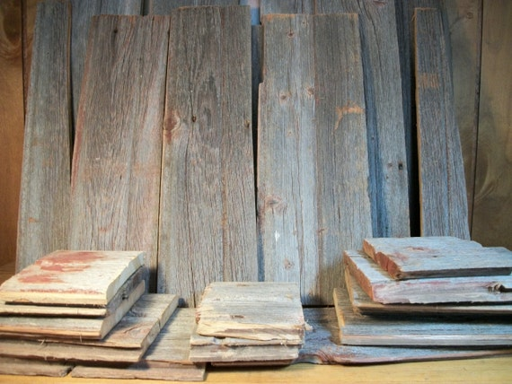 Barn boards 24 pieces reclaimed wood by grandmachrisattic for Barnwood pieces