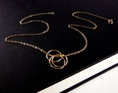 Selena Gomez - Gold Circle Necklace - Triple Interlocking Rings, Love , Forever, Gift for her, Modern Infinity,  Mom Gift