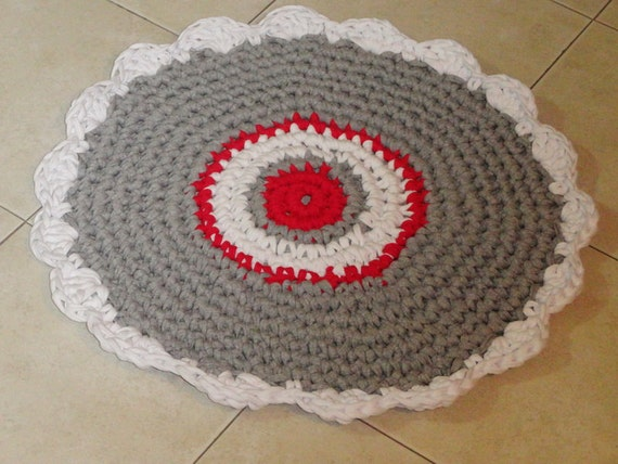 SALE Crochet Rug Small Round Rug Nursery Girl Boy By SweetnCozy
