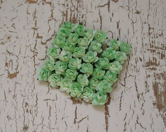 Paper Flowers - 36 Tiny Light Apple Green Paper Roses for Scrapbooking, Favors, Wedding Invitations, Paper Crafting
