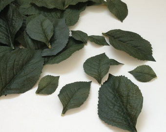 Artificial Leaves - 100 Dark Green Hydrangea Leaves in Various Sizes - Artificial Greenery, Leaves, Filler
