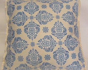 French Country Cottage Garden Provence Blue Ivory Pillow Toile