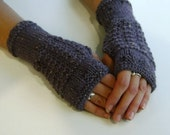 Fingerless Gloves / Mittens / Wrist Warmers in Dusky Grape Aran Wool