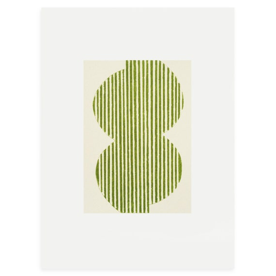 small original abstract  screen print, handmade in green and cream perfect modern artwork for your walls.
