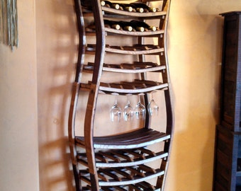 "WINE RACK - ""Hour Glass""  -  Sexy Large Wine Barrel Rack - 100% recycled Napa barrels"