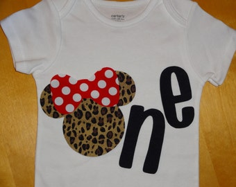 Leopard Minnie Mouse Inspired  1st/First Birthday iron on applique