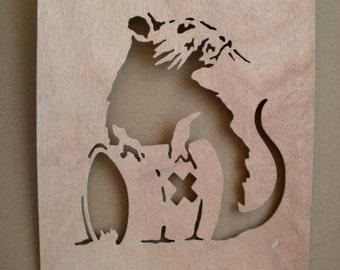 Banksy Toxic Rat  Wooden Stencil